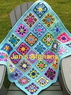 "Kaleidoscope crocheted BABY afghan baby blanket 30""x36"" kaleidoscope granny squares turquoise (light seafoam) border READY to SHIP"
