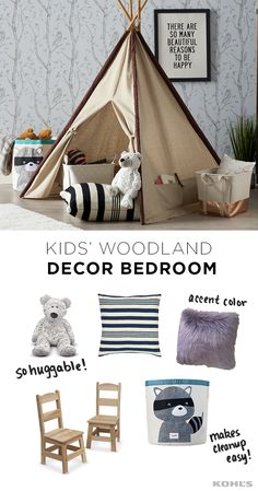 Fuel their thirst for exploration and adventure with a woodland decor-themed bedroom. This mix-and-match decor is as inspiring as it is adorable and functional. Keep the main colors neutral with pops of color in the accessories to keep it fun—and don't fo Bedroom Themes, Kids Bedroom, Kids Rooms, Bedrooms, Nursery Decor, Nursery Ideas, Playroom Ideas, Nursery Design, Nursery Themes