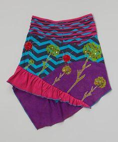Look at this #zulilyfind! Purple & Turquoise Floral Hi-Low Skirt - Girls by Rising International #zulilyfinds