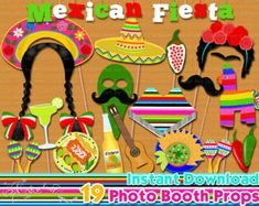 Mexica Fiesta photo booth props Mexican fiesta by PaperArtbyMC