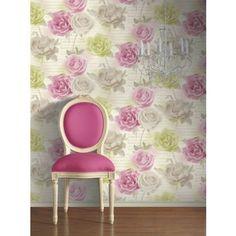 Rose Garden Pink Green Wallpaper