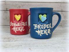 Becher & Tassen - Schwesterherz / Bruderherz - Becher - ein Designerstück von Farbton-Keramik bei DaWanda
