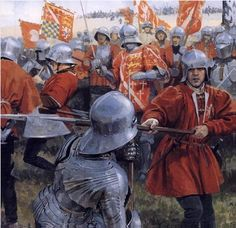 Battle of Bosworth (1485). The picture depicts the clash between the Yorkist Duke of Norfolk and the Lancastrian Earl of Oxford forces during the initial phase of the battle.