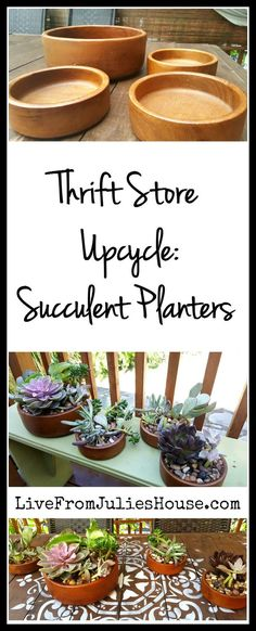 Thrift Store Upcycle: Succulent Planters - Wooden salad bowls are common at…