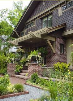 House Plans - Home Plan Details : Urban Bungalow Craftsman Porch, Craftsman Exterior, Craftsman Style Homes, Craftsman Bungalows, Interior Exterior, Interior Modern, Exterior Design, Craftsman Houses, Craftsman Kitchen