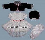 Costum de botez cu rochita cu trena si bolero LITTLE LADY