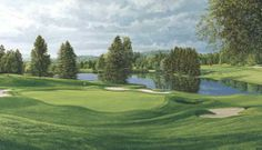 Laurel Valley, 18th Hole - Fine Art Paper LE by Linda Hartough. Buy it @ ReadyGolf.com