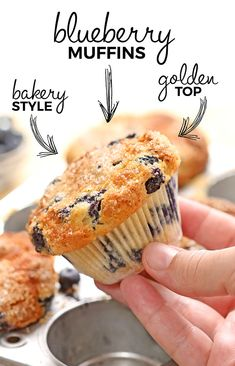Blueberry Muffins - Cakescottage Frozen Blueberry Muffins, Frozen Blueberries, Blue Berry Muffins, Muffin Recipes, Breakfast Recipes, Bread Recipes, How To Make Batter, No Bake Desserts, Delicious Desserts