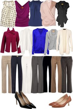 Minimalist Wardrobe Pruning: A Look at It by Season. Some great pieces! This is a great strategy: The pants are shoes are simple and very basic with the tops being the primary focal points. Add a few accessories with clean lines and interesting patterns as accent pieces and you're ready to go.