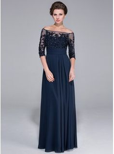A-Line/Princess Off-the-Shoulder Floor-Length Chiffon Tulle Mother of the Bride Dress With Lace Beading Sequins