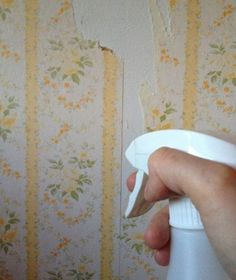Use vinagre blanco para despegar papel pintado - Use white vinegar to detach wallpaper - Utilisez du vinaigre blanc pour décoller le papier peint Remove Wallpaper Glue, Remove Wallpaper Borders, Natur Wallpaper, Old Wallpaper, Painted Wallpaper, Wallpaper Paste, Diy Cleaning Products, Cleaning Hacks, Cleaning Solutions