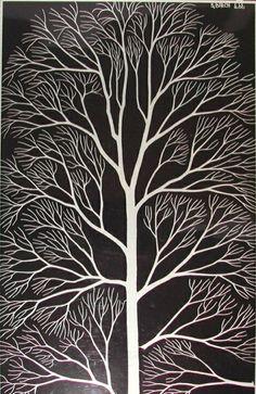 tree, woodblock print, design squish blog