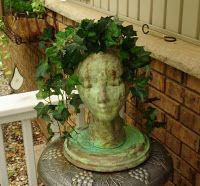 garden head tutorial made from a styrofoam wig head.  : )
