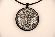 Mandala Yoga Pendant Statement Necklace. Beautiful black & white mandala set in a black mounting and magnified with domed crystal orb. 1.5 pendant