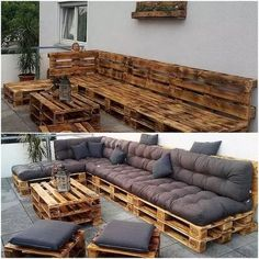 Diy projects with pallets - pallet furniture outdoor couch, pallet table ou Pallet Furniture Outdoor Couch, Pallet Table Outdoor, Outdoor Furniture Design, Couch Furniture, Wooden Furniture, Wood Pallet Couch, Furniture Plans, Outdoor Ideas, Furniture Makeover