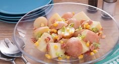 Potato Salad with a tangy twist, yum! Try Tablespoon's recipe. My Recipes, Salad Recipes, Cooking Recipes, Favorite Recipes, Salad Dishes, Salads, Aussie Food, How To Cook Potatoes, Main Meals