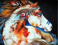 Art: SPIRIT INDIAN WAR HORSE COMMISSIONED ORIGINAL by Artist Marcia Baldwin