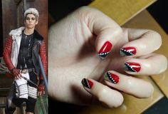 "Your Favorite ""Descendants"" Are Perfect Nail Art Inspiration Cameron Boyce as his character Carlos De Vil from Disney's Descendants accompanied by a photo of red, silver and black nail art Black Nail Art, Black Nails, Red Nails, Hair And Nails, Cute Nail Art, Cute Nails, Pretty Nails, Pretty Nail Designs, Nail Art Designs"