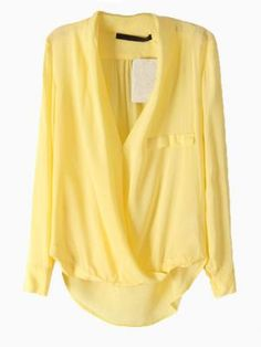 Shop Yellow V-neck Blouse from choies.com .Free shipping Worldwide.