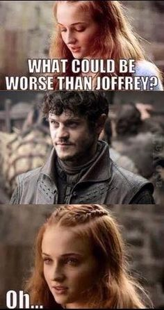 Game of Thrones Humor -- poor sansa.  at least she didn't have to marry ramsey in the book.  we'll see how it plays out in the show.