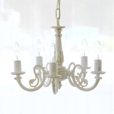 White × Gold Chandelier (5灯) - インテリアショップ・キノ Interior shop kino:アンティークオブジェやヨーロッパの家具・雑貨