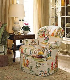 Using Large Pattern Chinoiserie Fabrics on smaller chair! still looks great