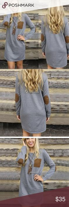 DRESS SALE! Fall Dress! Grey Dress with Brown Pocket and Elbow Patches! Very Cute! 65% Cotton 35% Polyester. All measurements are in the pictures. Dresses Mini
