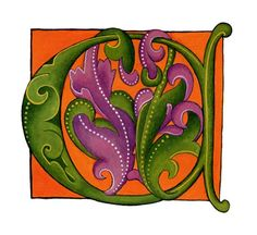 Orange and Purple Letter C  from a Dover Publication Initial - Opaque watercolor on paper