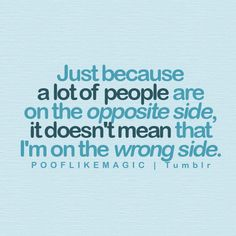 just because a lot of people are on the opposite side, it doesn't mean that I'm on the wrong side