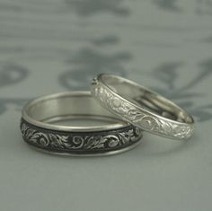 Silver Wedding Band Set--His and Hers Leaf Patterned Rings--Silver Wedding Ring Set--Leaf and Swirl Design Bands--Going Baroque Bands Silver Wedding Bands, Titanium Wedding Rings, Custom Wedding Rings, Cool Wedding Rings, Wedding Band Sets, Wedding Men, Trendy Wedding, Wedding Rings Sets His And Hers, His And Hers Rings