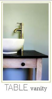 Table as a vanity with vessel sink