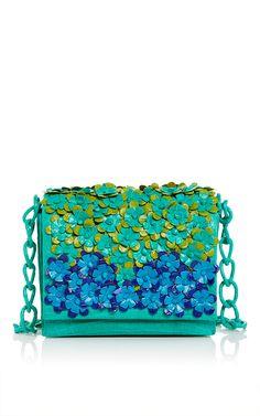 Green Crocodile Floral Shoulder Bag by Nancy Gonzalez for Preorder on Moda Operandi