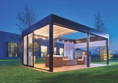 """Reverse"" freestanding pergola with sliding retractable roof"