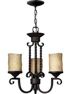 Antique Lighting. Casa 3 Light Chandelier in Olde Black