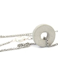 Very long silver circle necklace lightweight concrete locket by shooohsJewelry…