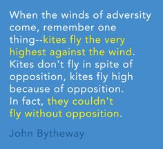 Kites fly the very highest against the wind...