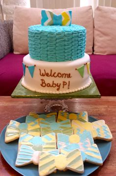 Bow Tie Baby Shower Cake and Frosted Sugar Cookies