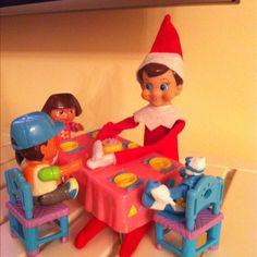 Benny the elf having a tea party!
