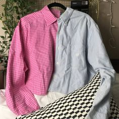 another split button up! has a soft playful pink and blue vibe💎🌸. would have a slight oversized comfy look on a medium. definitely a one of a kind piece bc i made it! has a slightly cropped fit with a raw hem shipping is $4 // #depopusa #depopfamous #sofuckingdepop #vintagedepop