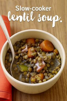 Lentils make for hearty, filling meals, perfect for colder days! This lentil soup is one of our best slow-cooker recipes and a great quick meal idea!