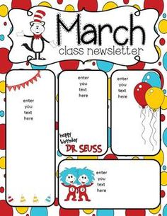 Newsletters for March for your classroom! Patrick's Day, Let's read, and a reading cactus newsletter.I hope you enjoy using these newsletters and please leave some awesome feedback! Class Newsletter, Monthly Newsletter Template, Preschool Newsletter, Classroom Themes, Seasonal Classrooms, Meet The Teacher Template, Letter Templates Free, Preschool Bible, Letter To Parents