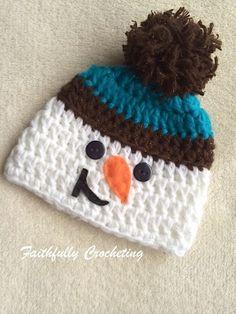 Newborn Grinning Snowman Hat Photo Prop by FaithfullyCrocheting Snowman Hat 637b36b9a736