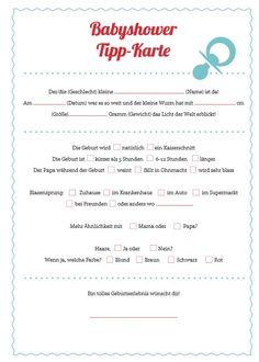 Tipps und Ideen für eine Babyparty Tippkarte