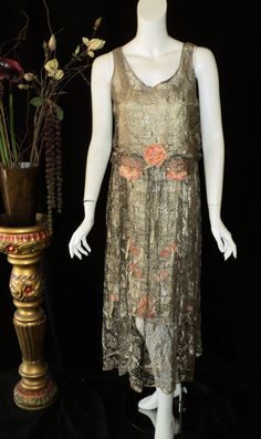 1920s Silver Metallic Lace Dress