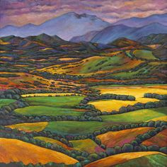 Draped in a Dream by Johnathan Harris. Original acrylic painting on canvas. Colorful landscape from the eastern Italian region of Le Marche. Acrylic Painting Canvas, Canvas Art, Canvas Prints, Landscape Prints, Landscape Paintings, Landscapes, Landscape Art, Dream Painting, Wildlife Paintings