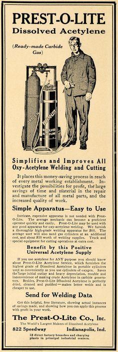 1915 Ad Prest-O-Lite Dissolved Acetylene Welding Metals TW1