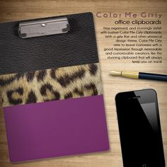 Leopard Print Leather Stripe Choose Accent Color Clipboard