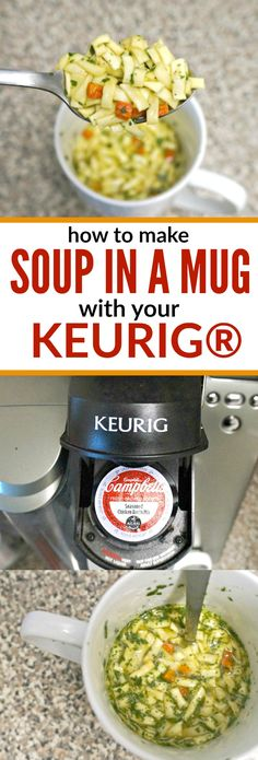 A Keurig® brewer is essential for dorm life but, it's more than coffee. These Keurig® college hacks teach you how to make meals and more using your coffee brewer. Keurig Recipes, Mug Recipes, Coffee Recipes, Dorm Room Food, Campbell Soup Company, College Meals, College Dorm Food, College Hacks, Noodle Soup