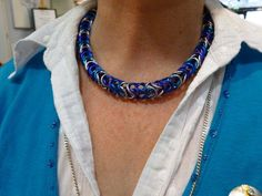 Blue, purple and silver box chainmaille£20.00