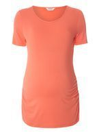 Womens **Maternity Coral Scoop Neck Top- Red